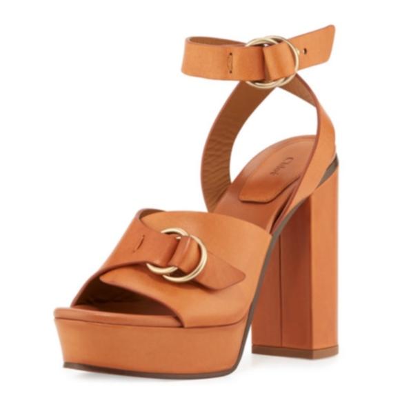 d590d11ba14 CHLOE Kingsley Platform Buckle Brown Sandals